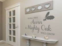 "Wall Quote ""From A Tiny Acorn"" Motivational Cute Sticker Decal Decor Transfer"